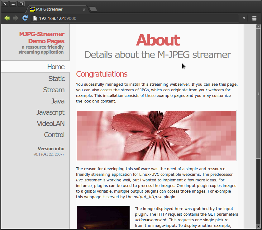 Raspberry Pi camera board video streaming » Miguel Mota   Software